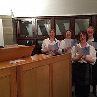 The ladies from Hospitality formed a choir to accompany our resident organist Brad.